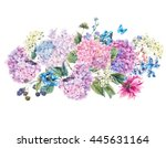 summer watercolor vintage... | Shutterstock . vector #445631164