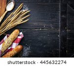 bread  wheat ears and flour on... | Shutterstock . vector #445632274
