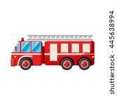 Fire Truck Icon In Cartoon...