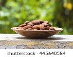 almonds. almonds on wooden...   Shutterstock . vector #445640584