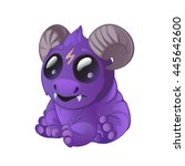 a small horned fantasy creature.... | Shutterstock .eps vector #445642600