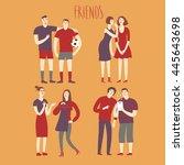 set of cartoon boys and girls... | Shutterstock .eps vector #445643698