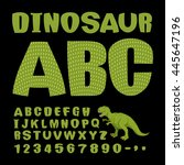 dinosaur abc. font of... | Shutterstock .eps vector #445647196