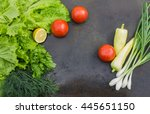 lettuce with dill  parsley ... | Shutterstock . vector #445651150