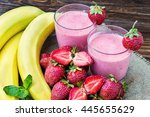 fresh strawberry and banana... | Shutterstock . vector #445655629