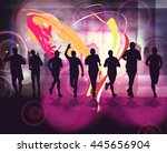 people running. vintage sport... | Shutterstock . vector #445656904