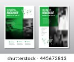 green annual report with photo... | Shutterstock .eps vector #445672813