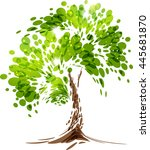 green stylized vector tree on... | Shutterstock .eps vector #445681870