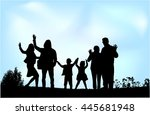 generational family on the... | Shutterstock .eps vector #445681948