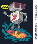 surfer robot vector design for... | Shutterstock .eps vector #445689529