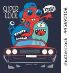 cute monsters in car  vector... | Shutterstock .eps vector #445692106