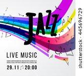 jazz festival poster template.... | Shutterstock .eps vector #445696729