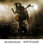 rock band performs on stage.... | Shutterstock . vector #445701640
