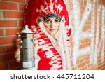 Young Woman Dressed In Costume...