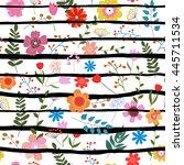 illustration of floral seamless.... | Shutterstock . vector #445711534