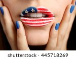 Usa National Flag Makeup On...