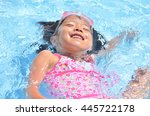 girl playing in the swimming... | Shutterstock . vector #445722178