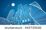 business building  neon city ... | Shutterstock .eps vector #445735030