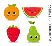 cute and funny fruits set.... | Shutterstock .eps vector #445745920