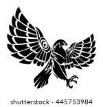 falcon bird flying tattoo on... | Shutterstock . vector #445753984