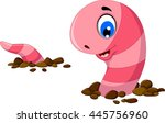 funny worm cartoon on the sand | Shutterstock .eps vector #445756960