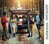 people friendship hangout... | Shutterstock . vector #445762459