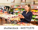 young woman shopping in the... | Shutterstock . vector #445771570