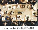 business meeting eating cheers... | Shutterstock . vector #445784104