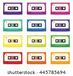 set of colorful cassette tapes | Shutterstock .eps vector #445785694