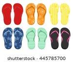 six pairs of flip flops | Shutterstock .eps vector #445785700