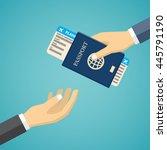 businessman receiving boarding... | Shutterstock .eps vector #445791190