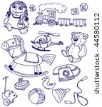 collection of doodles toys | Shutterstock .eps vector #44580112