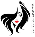 long hair style icon  logo... | Shutterstock .eps vector #445802098