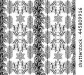 seamless doodle flower pattern... | Shutterstock .eps vector #445809916