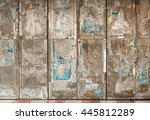 grunge door with colorful paper ... | Shutterstock . vector #445812289
