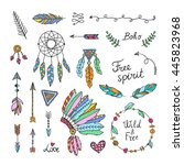 boho style hand drawn elements. ... | Shutterstock .eps vector #445823968