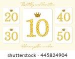 cute vintage golden glitter... | Shutterstock .eps vector #445824904