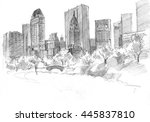 pencil drawing of the central... | Shutterstock . vector #445837810