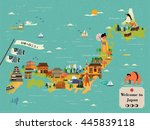 japan travel map design   let's ... | Shutterstock . vector #445839118