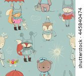 seamless pattern with cute... | Shutterstock .eps vector #445840474