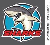 shark vector badge | Shutterstock .eps vector #445842544