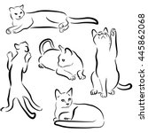 Stock vector vector cats silhouettes collection isolated on white background black contours of animals cat 445862068
