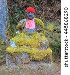 Small photo of ancient Jizo statues in Kanmangafuchi Abyss, Nikko, Japan.