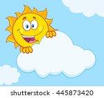 happy summer sun mascot cartoon ... | Shutterstock . vector #445873420