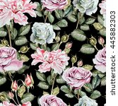 watercolor pattern with peony... | Shutterstock . vector #445882303