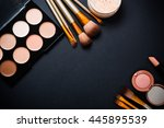 professional makeup brushes and ... | Shutterstock . vector #445895539