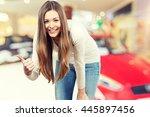 teenager on car background. | Shutterstock . vector #445897456