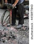 worker jackhammering street.... | Shutterstock . vector #445897843