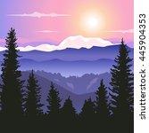 vector landscape with sunrise... | Shutterstock .eps vector #445904353