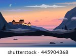 vector landscape with old... | Shutterstock .eps vector #445904368